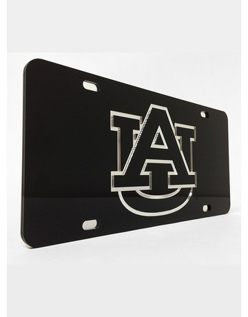 Craftique AU Silver Letters in Black Background License Plate