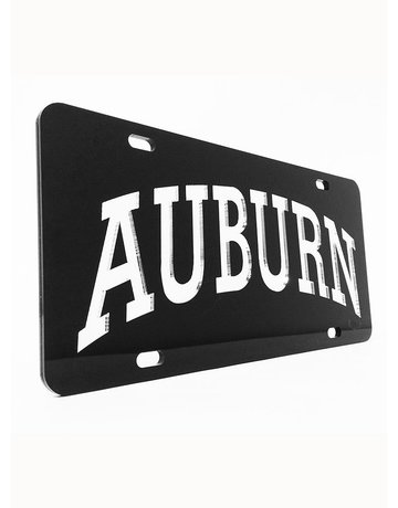 Craftique Arch Auburn Silver Letters in Black Background License Plate