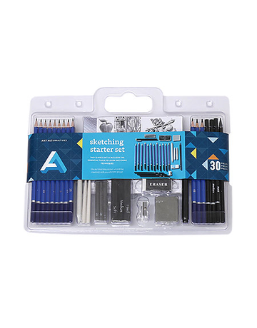 MacPherson Sketching Starter Set 30-piece includes assorted drawing media and instruction booklet