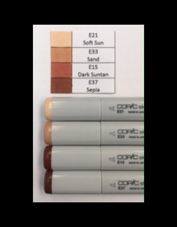 J&M Copic Marker Set-Earth Tones E21, E33, E15, E37