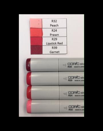 J&M Copic Marker Set-Red R32, R24, R29, R39