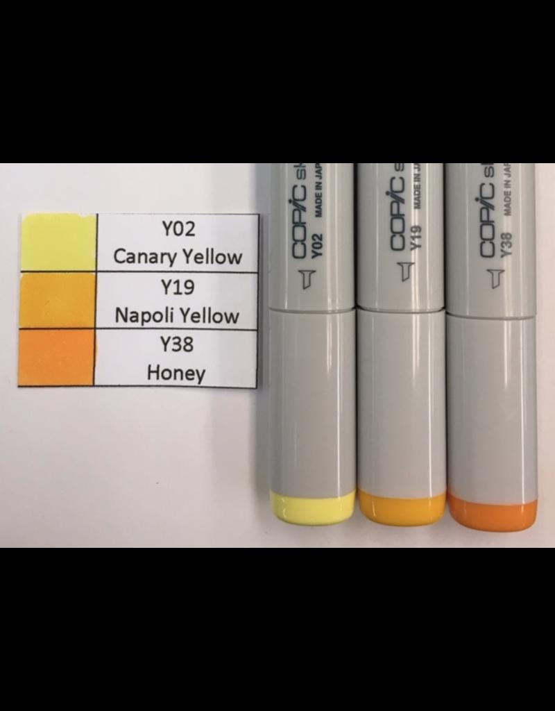 J&M Copic Marker Set-Yellow Y02, Y19, Y38