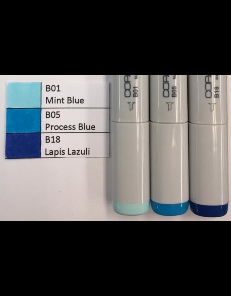 J&M Copic Marker Set-Blue B01, B05, B18