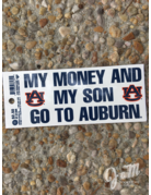 Angelus Pacific My Money and My Son Go To Auburn Decal
