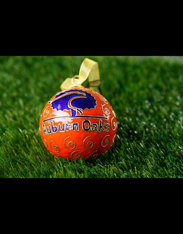 Kitty Keller Designs Auburn Oaks Orange Ornament with Navy