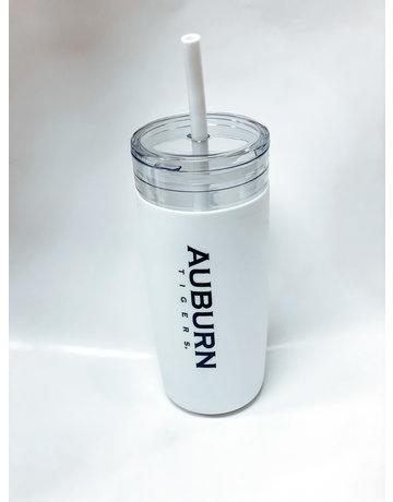 Spirit Auburn Tigers White Tumbler with Straw and Carrying Bag
