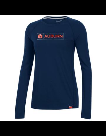 Under Armour F20 Boxed AU Auburn Womens Long Sleeve Sideline Performance Cotton T-Shirt
