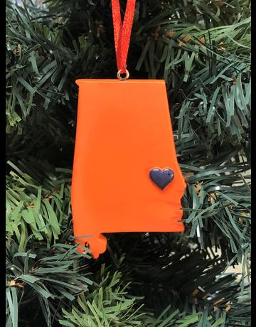Oxbay Orange State Auburn Heart Ornament