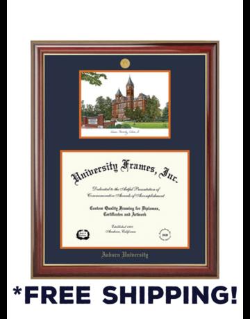 University Frame Diploma Frame C - Double Opening Classic Mahogany Gold Trim Frame Medallion - Landmark Litho