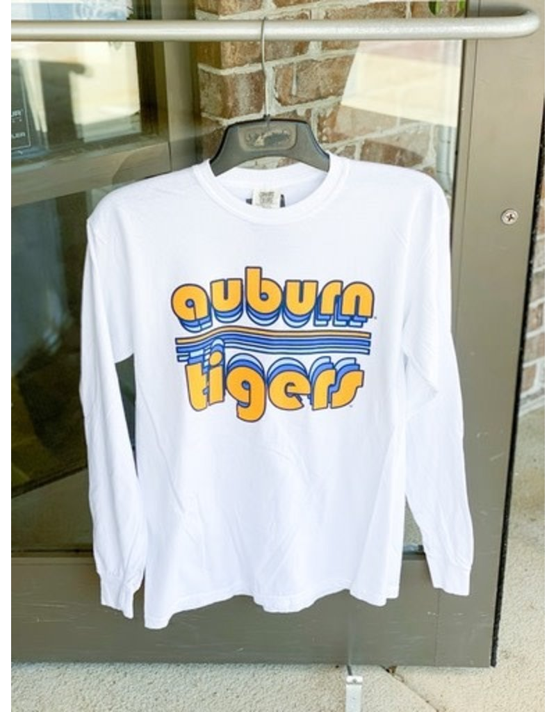 Image One Bubble Auburn Tigers Retro Stripe Long Sleeve T-Shirt