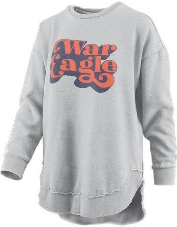Pressbox Vintage Script War Eagle Hi-Lo Fleece Crew