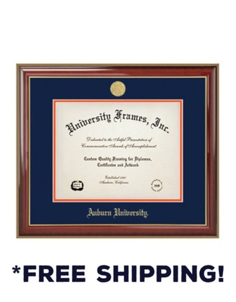 University Frame Diploma Frame B - Classic Mahogany Frame Gold Medallion
