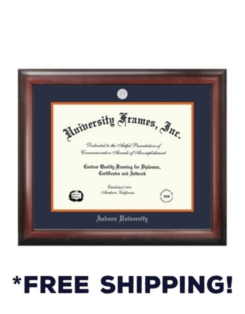 University Frame Diploma Frame E- Satin Mahogany Frame Silver Medallion