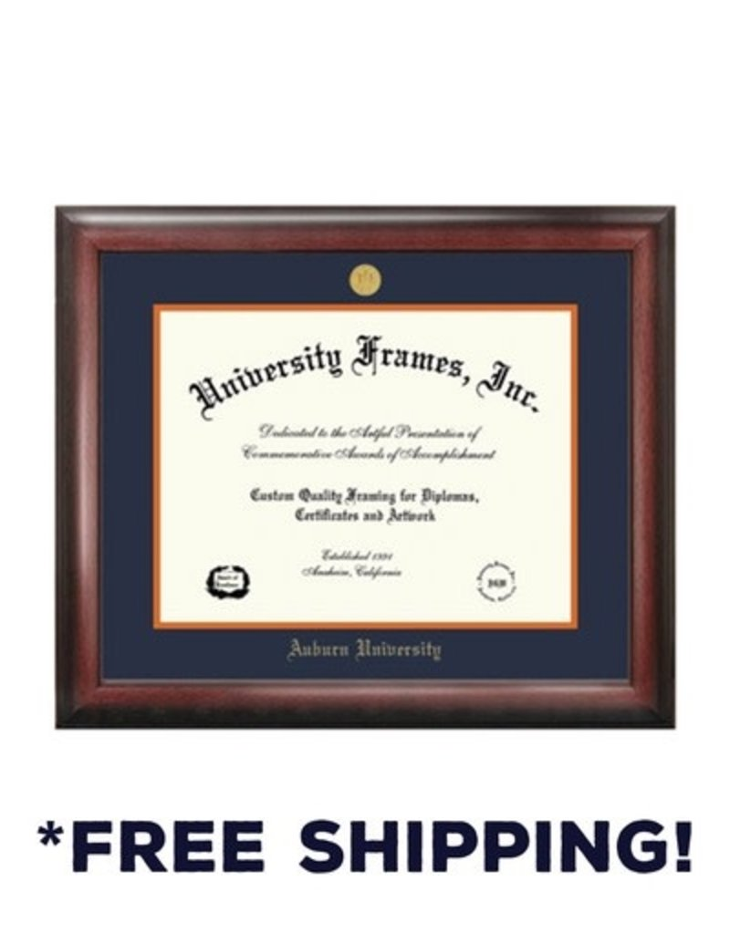 University Frame Diploma Frame F- Satin Mahogany Frame Gold Medallion
