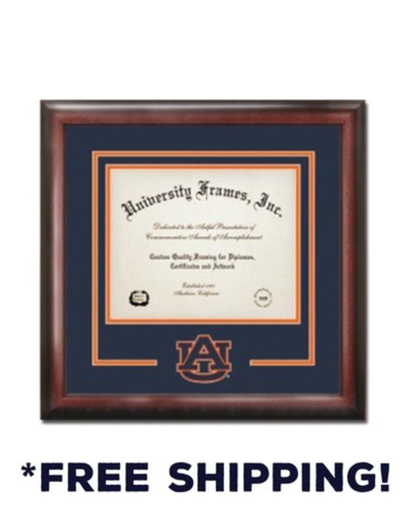 University Frame Diploma Frame G- Satin Mahogany Navy and Orange Laser Logo AU Interlocking