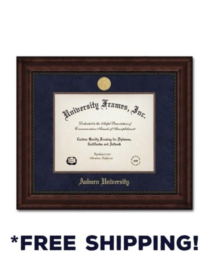 University Frame Diploma Frame I- Executive Mahogany Navy Suede Gold Medallion