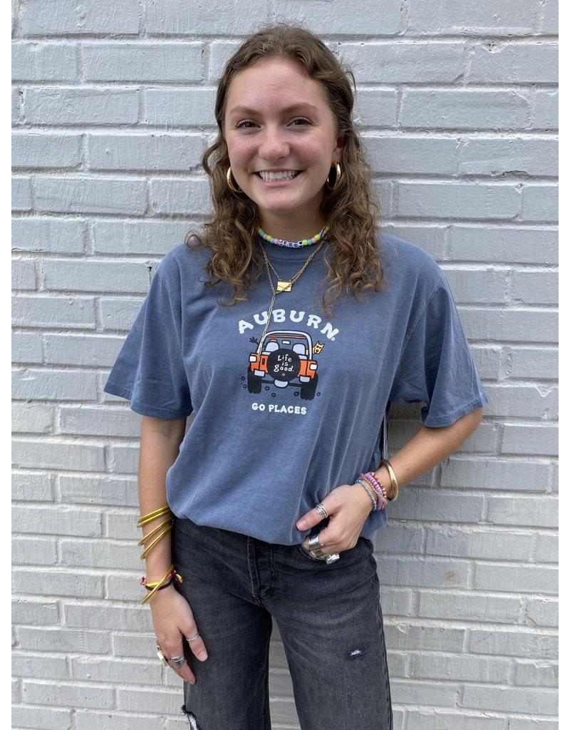 Blue 84 Auburn Life is Good Jeep Go Places T-Shirt