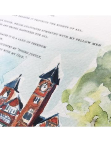 Art by LJD Samford Hall Watercolor Creed