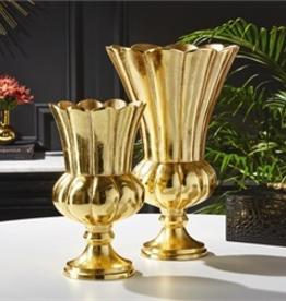 Gold Pedestal Planter/Vase - Small
