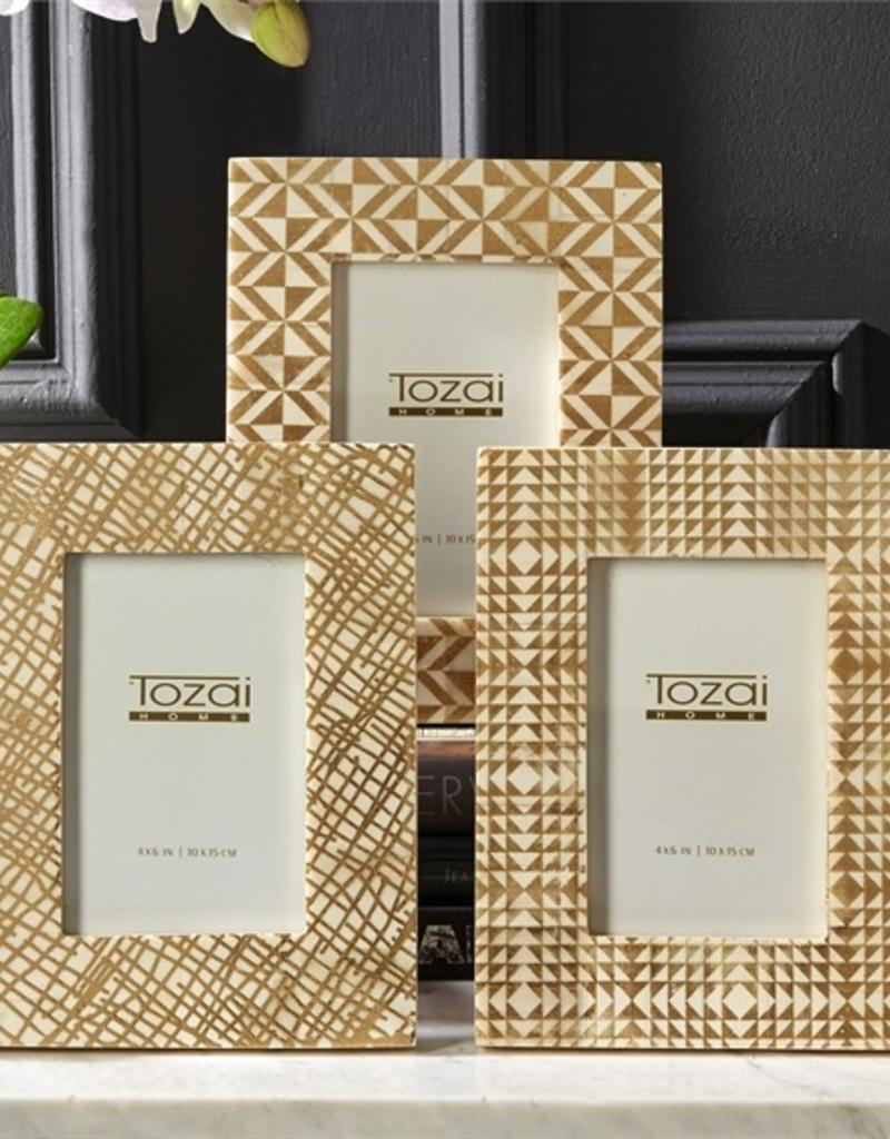 "Gold Foil Printed Natural Bone Photo Frame - 4""x6"""