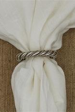 Rope Twist Napkin Ring - Silver Finish Set of 2
