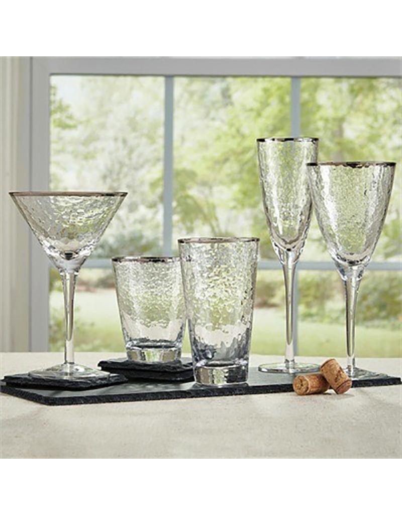 Metallic Rim Stemmed Wine Glass - Silver