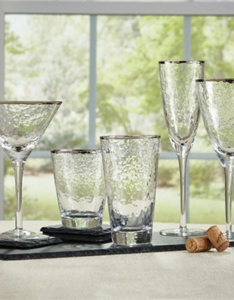 Metallic Rim Highball Glass - Silver