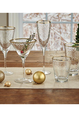 Metallic Rim Double Old Fashioned Glass - Gold