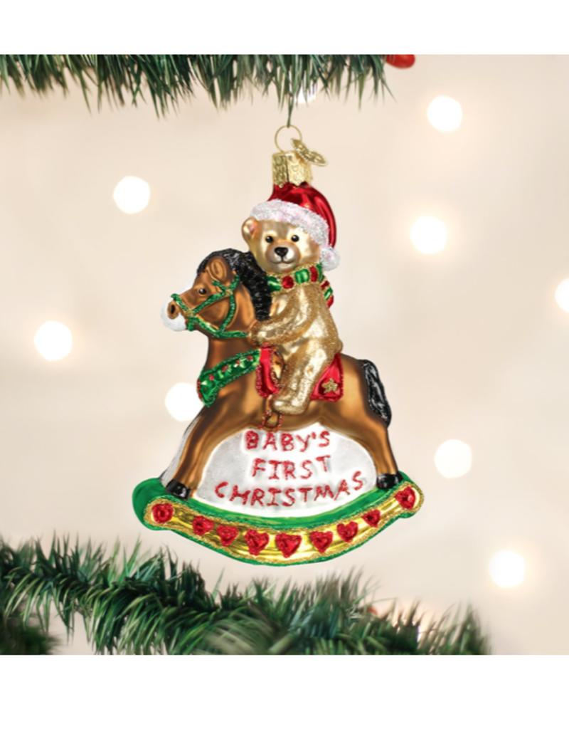 Old World Christmas Rocking Horse Teddy Ornament