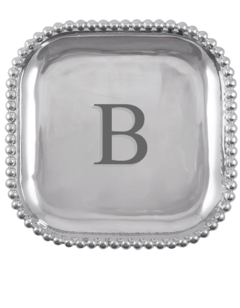 Mariposa Initial Pearled Square Platter - B