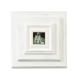 """White-Washed Wooden 13""""x13"""" Frame -  4""""S Photo"""