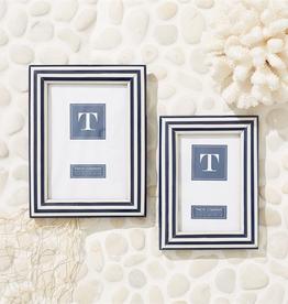 "Nautical Stripes Blue and White Photo Frame - 5""x7"""