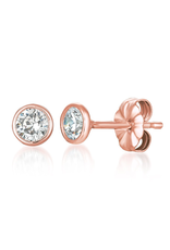 Crislu Solitaire Bezel Earrings - 18k Rose Gold- 1 cttw
