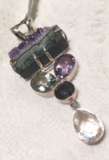 Sterling Silver & Gem Pendant - Amethyst and Peridot