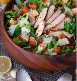 """Round Acacia Wood Salad Bowl - 10""""D"""