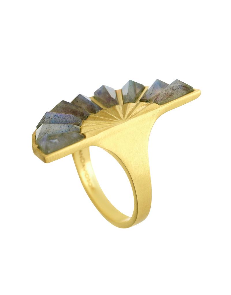 Labradorite Mosaic Gold Ring - Size 8