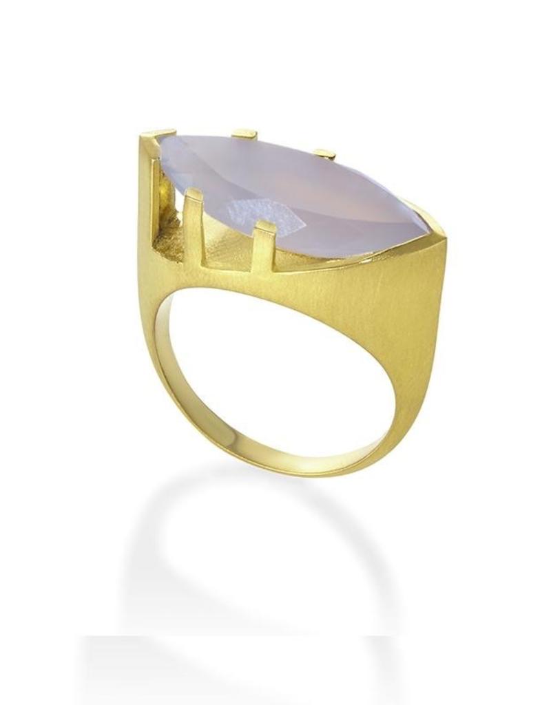 Blue Chalcedony Taj Gemstone Ring - Size 7