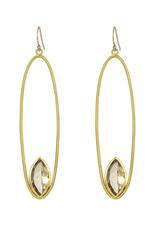 Citrine Lotus Floating Earrings - Large