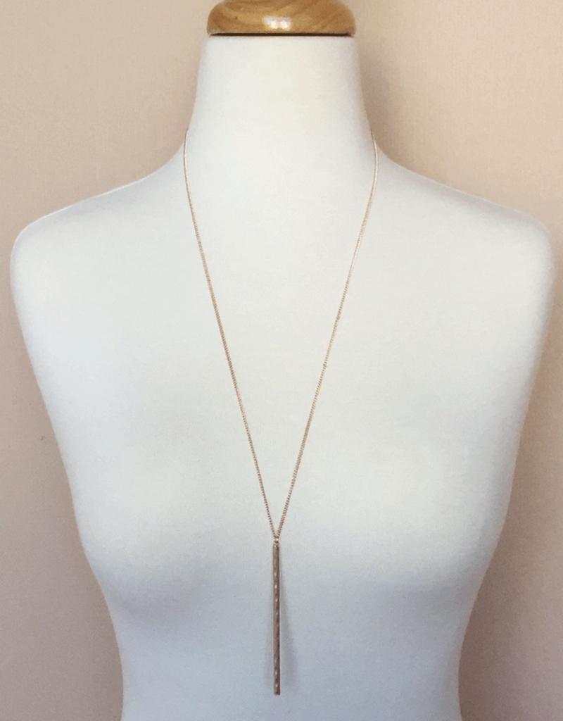 Textured Bar Necklace - Rose Gold