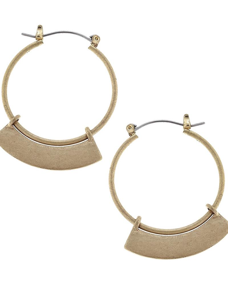 Architectural Hoop Earrings - Gold