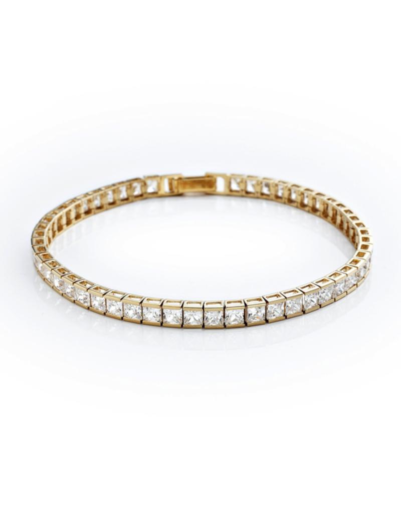 "Crislu Classic Medium Princess Tennis Bracelet Finished in 18KT Gold - 7"""