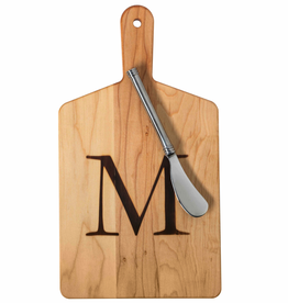 Initial Maple Cheese Board w/ Spreader-G