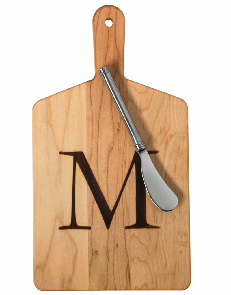 Initial Maple Cheese Board w/ Spreader-H