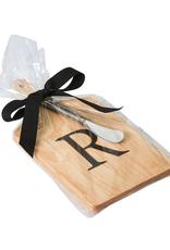 Initial Maple Cheese Board w/ Spreader-N