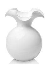Vietri White Hibiscus Glass Small Fluted Vase