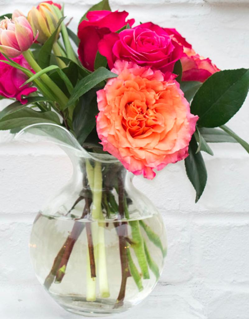 Vietri Clear Hibiscus Glass Medium Fluted Vase