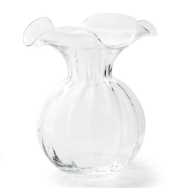 Vietri Clear Hibiscus Glass Large Fluted Vase