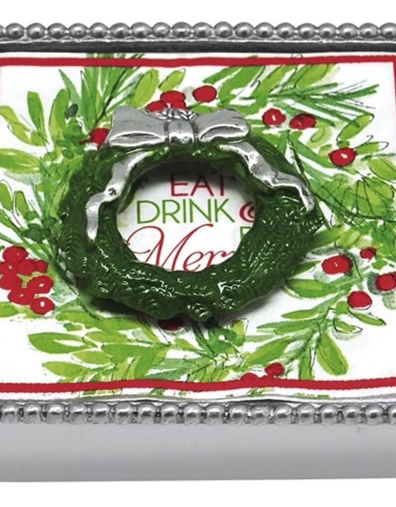 Mariposa Green Wreath Napkin Box