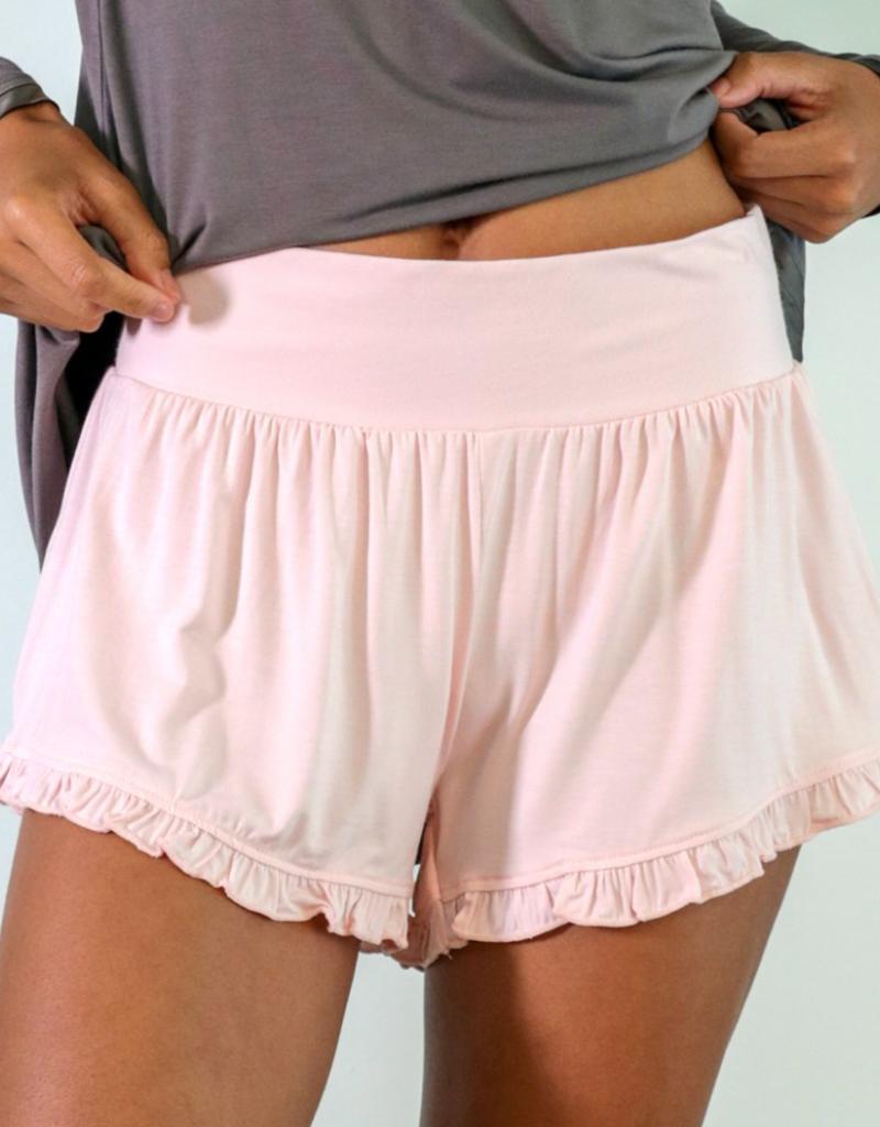 Bamboo Ruffle Shorts - Pink - Medium