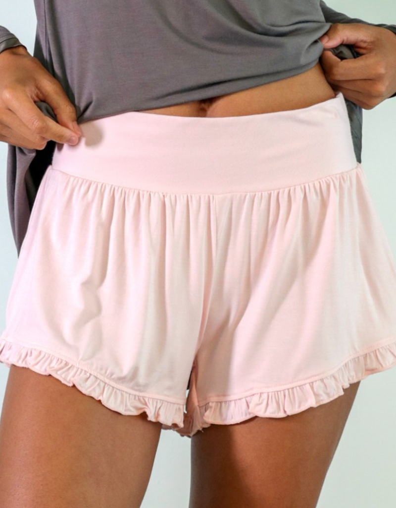 Bamboo Ruffle Shorts - Pink - Small